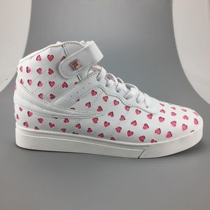 Fila Women's White Pink Hearts High top Sneakers